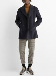 New Zzegna Jacket Classic Navy Double Breasted Wool Pea Coat Eu 48 R/us 38r