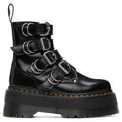 Dr. Martens Womens Boots Jadon Max Hardware Buckles Side Zip Ankle Leather