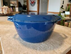 Copco Blue With Lid Enamel Cast Iron Dutch Oven Pot D3 Made In Denmark 4 Qt