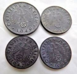 4 Authentic Nazi German Wwii Coins Excellent Examples Of Wartime Issues Zinc