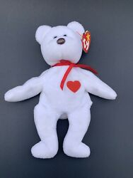 Ty Beanie Baby Valentino Bear White Authentic Retired Rare Errors Mint Condition