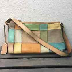 Fossil Doctor Baguette Bag Purse Patchwork Leather Brown Green $25.00