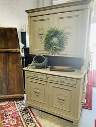 Antique Painted Hutch, French, Farmhouse, Distressed, Rustic, Primitive, Solid