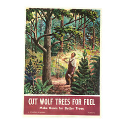 Earle B Winslow Original 1945 Forest Service Propaganda Wwii Poster Wolf Trees