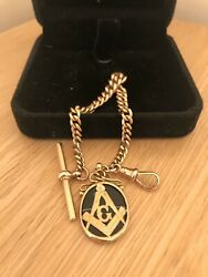 Fabulous Vintage Solid 9ct Rose Gold T-bar Masonic Agate Fob Bracelet And Box