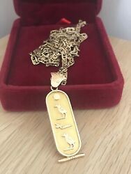 Vintage 9ct Gold Egyptian Hieroglyphic Pendant 30 Fancy Curb Link Chain And Box