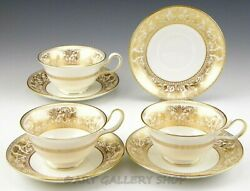 Wedgwood England W4219 Gold Florentine Dragons Peony 3 Cups And 4 Saucers Set