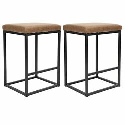 29 Bar Stools Set Of 2 Square Metal Rustic Industrial Backless Pu Padded