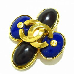 Coco Mark Brooch Gold Black Blue Metal Material Color S _32711