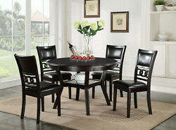 Ebony Round Table And 4 Chairs 5pc Dining Set Pu Upholstery Seatback And Storage