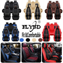 Luxury 5d Pu Leather Car Seat Cover For 5-sit Suv Truck Non-slip Seat Cushion Us