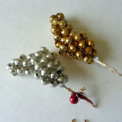 2 Vintage Christmas Mercury Glass Beads Picks Gold Silver Cluster Cone Ornaments