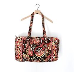 Vera Bradley Puccini Red Brown Extra Large Quilted Duffel Bag With Side Pocket