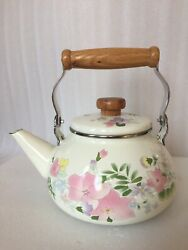 Vintage Enamel Metal Floral Teapot With Wooden Knob And Handle