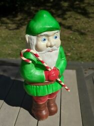 Vintage Union Christmas Blow Mold 28 Elf Gnome W/ Candy Cane, Don Featherstone
