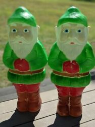 Pair Of 2 Vintage Union Christmas Blow Mold 28 Elf Gnomes By Don Featherstone