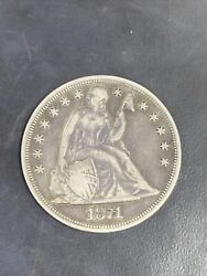 1871 United States 1 Dollar Coin Seated Liberty Vintage, Antique Coin