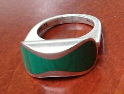 Jens Asby Denmark Vintage Modernist Sterling Silver And Malachite Huge Heavy Ring