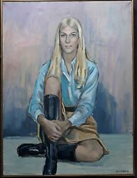 Sybil Goldsmith1917-2005 Nantucket American Mid Century Oil Young Woman