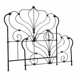 Vintage French Country Brown Cast Iron Bed Frame Queen Full Headboard Fb Rails
