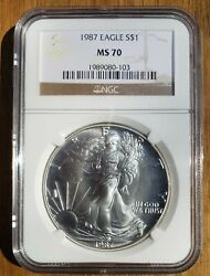 1987 American Silver Eagle Ngc Ms70 Brown Label Beautiful No Spots