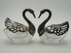 Pair Old Swan Open Salt Cellars Clear Crystal With Silverplate Neck And Wings