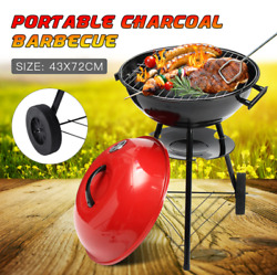 Portable Red Kettle Trolley Bbq Grill Charcoal Barbecue Wood Barbeque Picnic Bbq