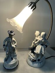 """Vintage Colonial Couple Porcelain Table Lamp W/spinning Music Box Figurine 9"""""""