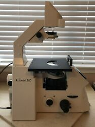 Zeiss Axiovert 200 Inverted Microscope Body With M27 Dic Turret