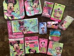 New Disney Minnie Mouse Birthday Party Supplies Bow-tique Plates Napkins Candles