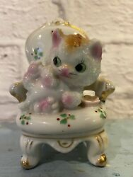 Vintage Cat Kitten On A Chair Figurine Ceramic Porcelain Textured Made In Japan