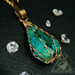 Real 18k Yellow Gold Antique Natural Emerald Basket Necklace Raw Emerald