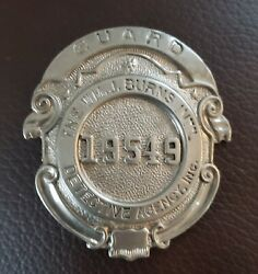 1930's Obsolete Burns Detective Agency Security Guard Badge Pin 2 1/2