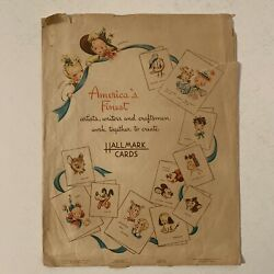 Vintage 40s Hallmark Cards Paper Shopping Bag Disney Mickey Mouse Mopsy Blondie