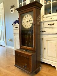 Antique Gledhill Brooks Time Recorder Clock Logoed And Rare Style 1900's