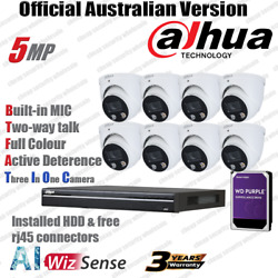 Dahua 5mp Kit Full Color Two-way Ttalk Ip Security Camera Hdw3549h-as-pv Pro Nvr