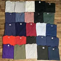 Vintage Lot Of 25 Blank T-shirts S M L Pocket Fruit Of The Loom Hanes Bvd Usa