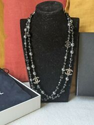 Authentic Cc A11v Long Black And Greay Pearl Necklace Dustbag Box