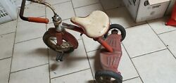 Vtg Murray Tricycle Red Double Step High Time Ht W Orig. Troxel Saddle Seat.