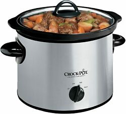 3 Quart Round Manual Slow Cooker Stainless Steel and Black SCR300 SS