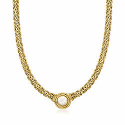 8mm Cultured Pearl Byzantine Necklace In 18kt Gold Over Sterling