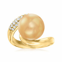 11-12mm Golden South Sea Pearl And .48 Ct. T.w. Diamond Ring In 18kt Yellow Gold