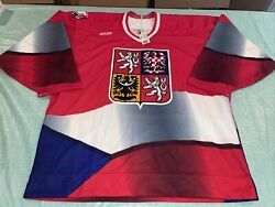 New Nwt 1996 Bauer Authentic Czech Republic Hockey Jersey Pro Red Clean
