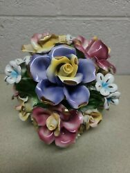 Authentic Italian Made Capodimonte Multi Flower Blooming Bouquet - 9h X 10w