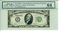 Fr 2001-l 1928a 10 Federal Reserve Note Pmg 64 Choice Uncirculated