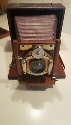 Antique Leather And Wood Case Bellows Camera And3 Plates Unicum Lens As Found Cond