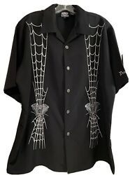 Dragonfly Clothing Company Spider Embroidered Shirts FT 704 Spun Out Black Sz L