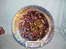 Northwood Carnival Glass Electric Blue Poppy Show Plate