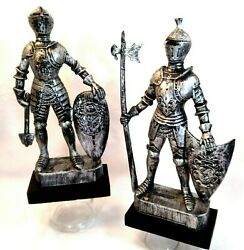 Vintage 2 Medieval Statues Knight Suits Of Armor Shield Sword Plastic See Desc