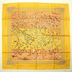Hermes Scarf Carres 90 Silk Libres Comme L'air The Sky Is Free Duck Bird _37355